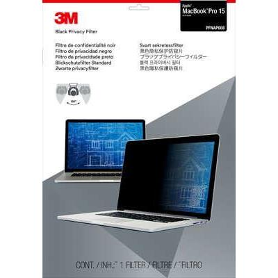 """3m schermfilter: Privacyfilter voor Apple MacBook Pro 15"""" (2016) - Zwart, Doorschijnend"""
