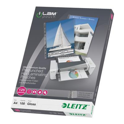 Leitz iLAM warm lamineerhoezen met perforatieband A4, 125 micron Laminatorhoes - Transparant