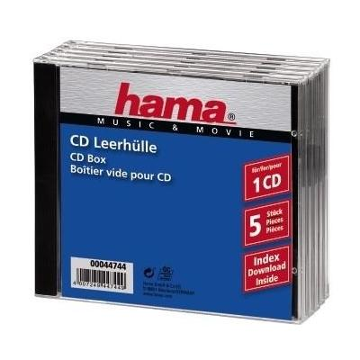 Hama CD Jewel Case Standard, Pack 5 - Zwart, Transparant
