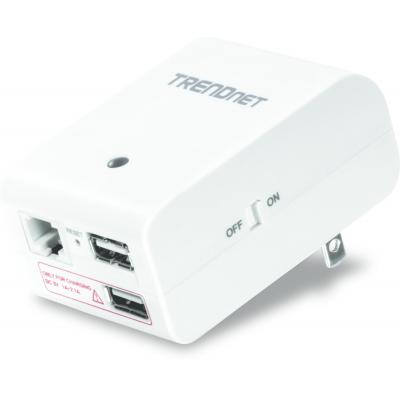 Trendnet PowerLine router: N150 Wireless Travel Router, 2 x USB, 1 x RJ-45, 10/100 Mbps - Wit