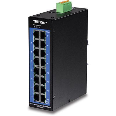 Trendnet TI-G160WS - 16-Port Industrial Gigabit Web Smart DIN-Rail Switch - Zwart