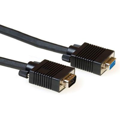 ACT VGA extension cable male-female black 10 m VGA kabel  - Zwart