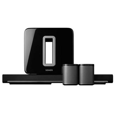 Sonos luidspreker set: 5.1 Home Cinema set met PLAYBAR, SUB en 2 PLAY:1 BLACK - Zwart, Zilver