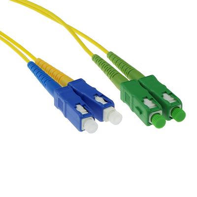 ACT 0.5 meter LSZH Singlemode 9/125 OS2 glasvezel patchkabel duplex met SC/APC en SC/PC connectoren Fiber optic kabel