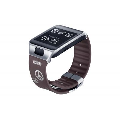 Samsung camera riem: Gear 2/Neo Band met Peace tekens - bruin - Grijs, Zilver