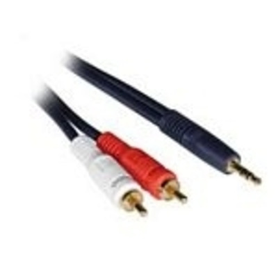 C2G 1m Velocity 3.5mm Stereo Male to Dual RCA Male Y-Cable - Zwart