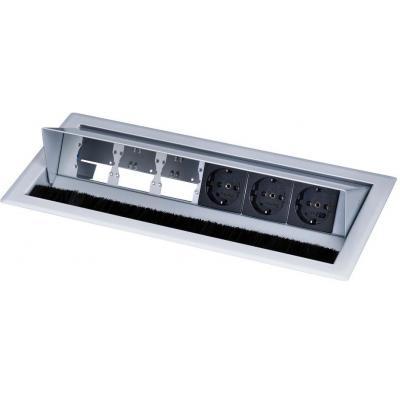 Kindermann Desktop Casing for 6 Insets RAL 9006, 3 x mains socket, 3 x empty modules Inbouweenheid - Zwart, .....