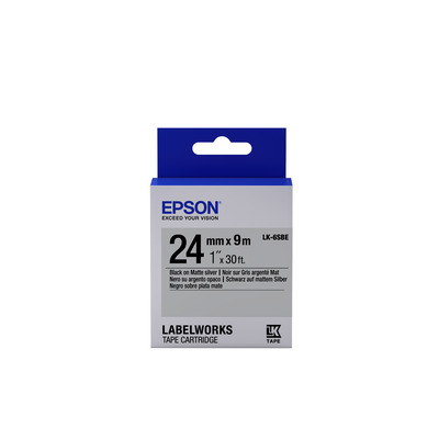 Epson Matte Tape - LK-6SBE Matte Blk/MattSiv 24/9 Labelprinter tape