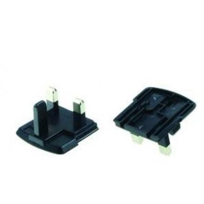 2-power stekker-adapter: Charger Plat, UK, 230V AC, 42x36x48, 18g, Black - Zwart