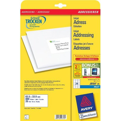 Avery Adresetiketten, Inkjet, Wit, 600 pcs. Adreslabel