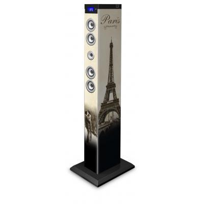 Bigben interactive home stereo set: Multimedia vloerstaande speaker met afbeelding van Parijs - Beige, Bruin