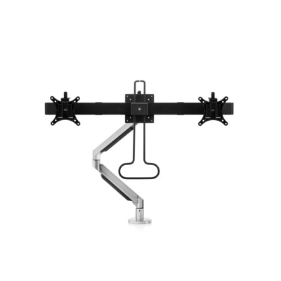 BakkerElkhuizen Filex Galaxy Flex Dual Crossbar Monitorarm - Zwart, zilver