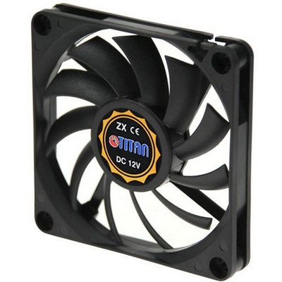 Titan 70mm Fan, 3500RPM, 21.33cfm, 33dB, Z-Axis Bearing, 60000h, 12V, 0.25A, 3W, black Hardware koeling - Zwart