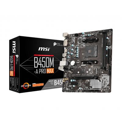 MSI AM4, B450, 2 x 288 Pin DIMM, Realtek 8111H, Realtek ALC892, m-ATX, HDMI, DVI-D, 4 x USB 3.2 Gen1, 2 x USB 2.0 .....