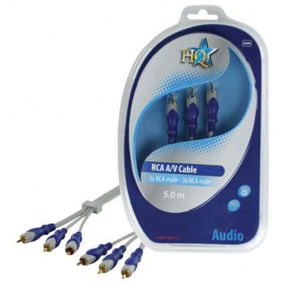 Hq : 3x RCA/3x RCA, 5m - Blauw, Grijs