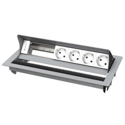 Kindermann 6-fold, 4 x mains Inbouweenheid - Zilver, Wit