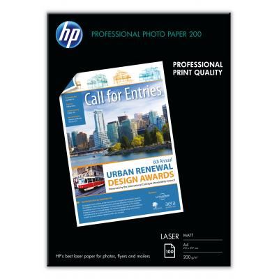 Hp papier: Professional Laser Photo Paper, mat, 100 vel, A4/210 x 297 mm - Zwart, Blauw, Wit
