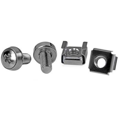 Startech.com schroef en bout: 50 Stuks M6 Montageschroeven en kooimoeren voor Serverracks - Zilver