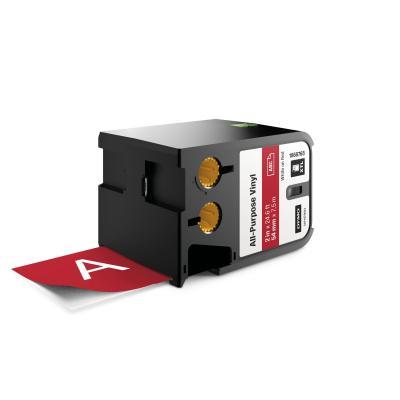 "Dymo labelprinter tape: XTL 2"" (54 mm) universeel vinyl, wit op rood - Zwart"