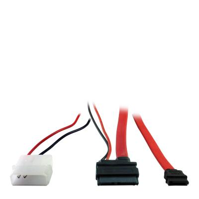 Inter-Tech 0.15m Slim SATA 7+6p/2p+SATA 7p ATA kabel - Zwart, Rood, Wit