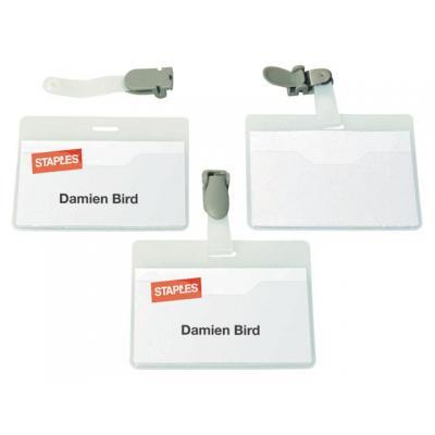 Staples naambadge: Naambadge SPLS 60x90mm met clip/ds 25