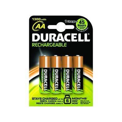 Duracell NiMH, 1300mAh, AA, 4st batterij - Zwart, Oranje