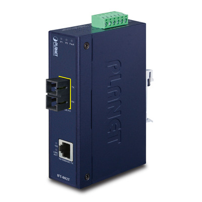 PLANET 10/100Base-TX to 100Base-FX Industrial - 2km Media converter - Blauw