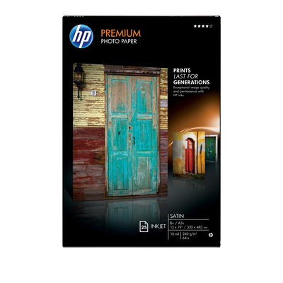 HP Premium Satin 25 sht/A3+/330 x 483 mm (13 x 19 in) Fotopapier - Wit
