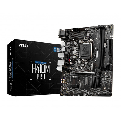 MSI LGA 1200 , Intel H410 Chipset, 2 x DDR4-SDRAM up to 64GB, LAN, 1 x RJ-45, 4 x SATA III, 1 x M.2(M), UEFI AMI, .....