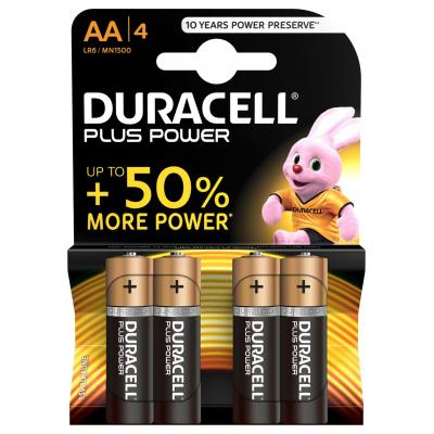 Duracell batterij: AA Plus Power batterijen (4 stuks) - Zwart, Oranje