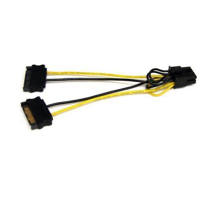 Startech.com : 15cm SATA Voeding naar 8-pins PCI Express Videokaart Voeding Verloopkabel - Zwart, Geel