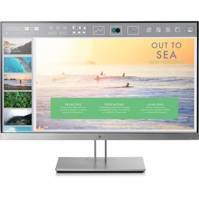 Hp monitor: EliteDisplay E233 - Zwart, Zilver