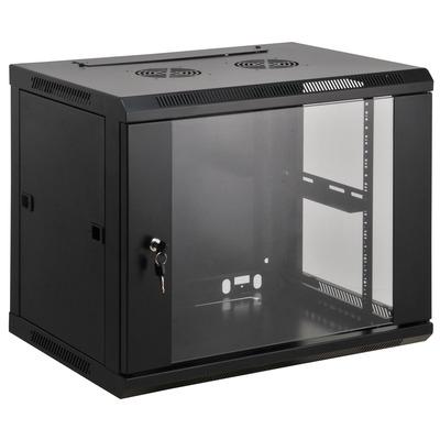 """Intellinet 19"""" Wallmount Cabinet, 12U, 635 (h) x 600 (w) x 450 (d) mm, Max 60kg, Assembled, Black Rack - Zwart"""