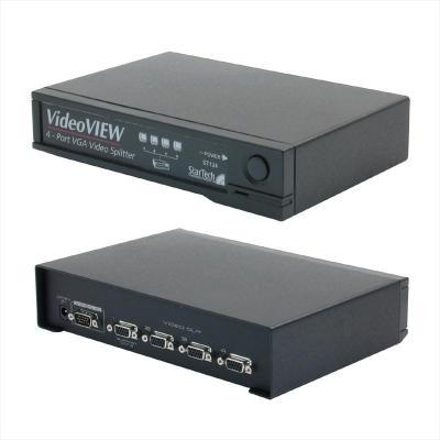 Newstar video splitter: 4 Port 250 MHz VGA - Zwart