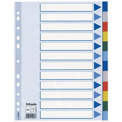 Esselte 225 x 3 x 297mm, A4, 1 - 12 Indextab - Multi kleuren