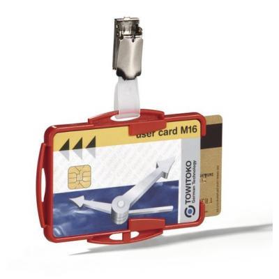 Durable badge: Dubbele houder voor bedrijfspassen 54 x 85 mm, rood (verpakking 25 stuks)