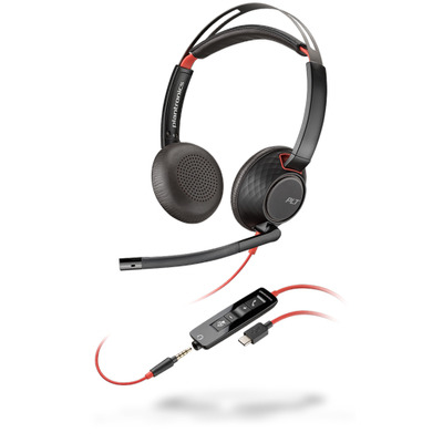 POLY Blackwire 5220 Headset - Zwart,Rood
