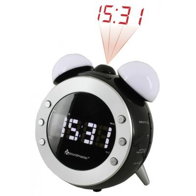 Soundmaster radio: AM/FM Clock Radio Black with projection and dimming night- and wake-up light - Zwart