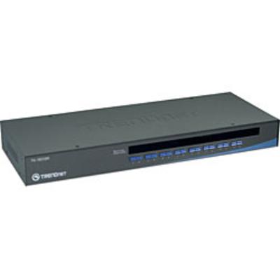 Trendnet 16-Port USB/PS/2 Rack Mount KVM switch - Zwart