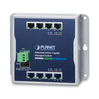 PLANET Industrial 8-Port 10/100/1000T Wall-mount Managed, 800 MAC, 10000 Jumbo frames, VLAN, IPv4/IPv6 Switch - .....