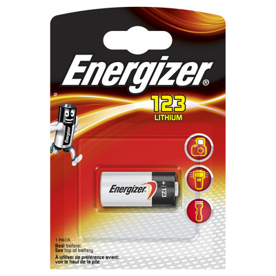 Energizer EL123 lithium foto batterij 1-blister - Zwart, Zilver