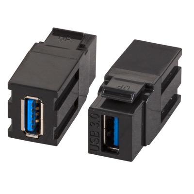EFB Elektronik Keystone Snap-In Adapter USB3.0 A - A, black Kabel adapter - Zwart