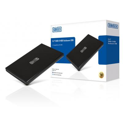 "Sweex behuizing: 6.35 cm (2.5 "") SATA II HDD Enclosure, USB - Zwart"