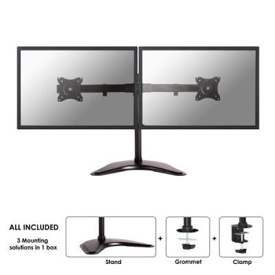 "Newstar monitorarm: Tilt/Turn/Rotate Dual Desk Mount (stand, clamp & grommet) for two 10-27"" Monitor Screens, Height ....."