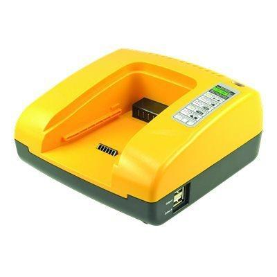 2-power oplader: Universal Power Tool Battery Chager Base, 110-240 V, 18 V, 3 A, 185 x 160 x 80 mm, 716 g - Zwart, Geel