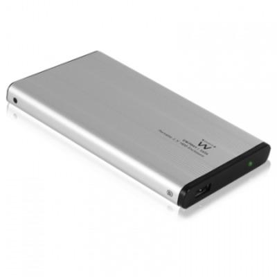 """Ewent behuizing: Draagbare 2.5"""" Harde Schijf Behuizing SATA, USB 2.0, Aluminium - Aluminium, Zwart"""