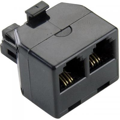 Bandridge telefoon splitter: 1x RJ11 - 2x RJ11, M/F, 230g, Black