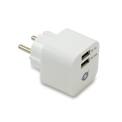 Conceptronic 2 x USB, 3.4A, 100 - 240V, 50 x 45 x 45 mm, 77g Oplader - Wit