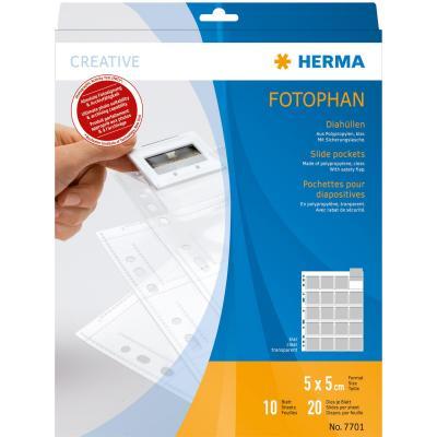 Herma hoes: Slide pockets for 35 mm slides film clear 10 pockets - Transparant