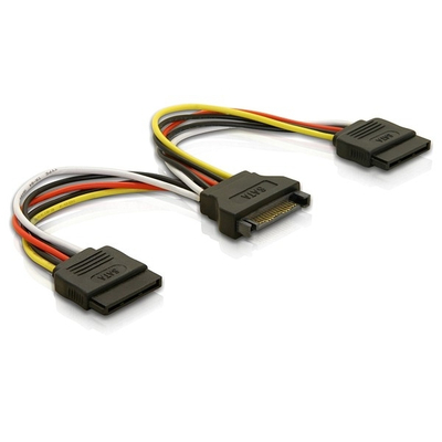 DeLOCK Cable Power SATA 15pin > 2x SATA HDD – straight - Multi kleuren